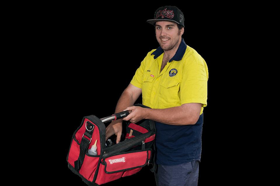 Plumber with tool bag